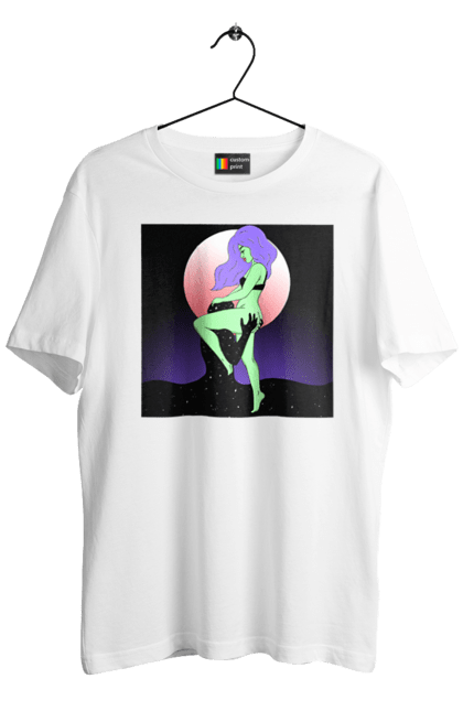 Футболка чоловіча з принтом Зелена Дівчина І Місяць. 18+, інопланетянка, місяць. CustomPrint.market