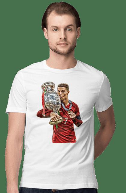 Футболка чоловіча з принтом Кріштіан Роналду Фіфа. Кріштіано роналдо, спорт, футбол. BlackLine