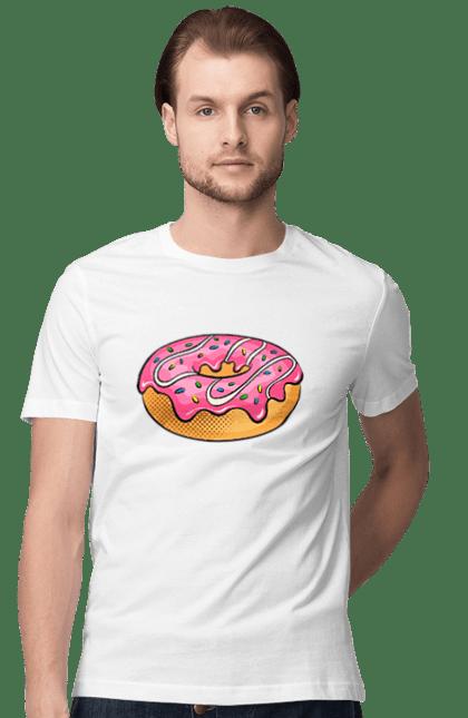 Футболка чоловіча з принтом Рожевий Пончик. Їжа, пончик, солодкість. BlackLine