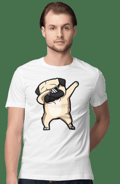 Футболка чоловіча з принтом Мопс деб. Деб, мопс, окуляри, собака, собачка. BlackLine
