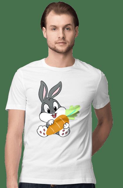 Футболка чоловіча з принтом Багз Банні Маленький, З Морквою. Багз банні, заец, морква, мультик. BlackLine