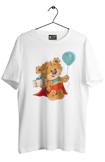 Футболка чоловіча з принтом Ведмедик з кулькою. Медвеженок, плащ, повітряну кульку, подарунок, супермен. Sector
