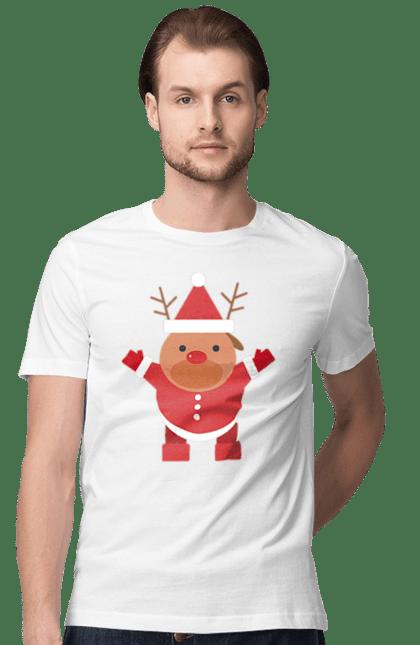 Футболка чоловіча з принтом олень санта. Новий рік, олень, різдво, санта, свято. CustomPrint.market