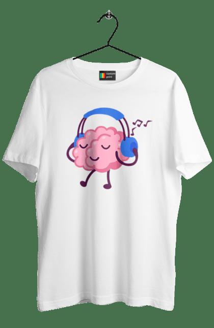 Футболка чоловіча з принтом Мозок В Навушниках. Мозок, музика, навушники. BlackLine