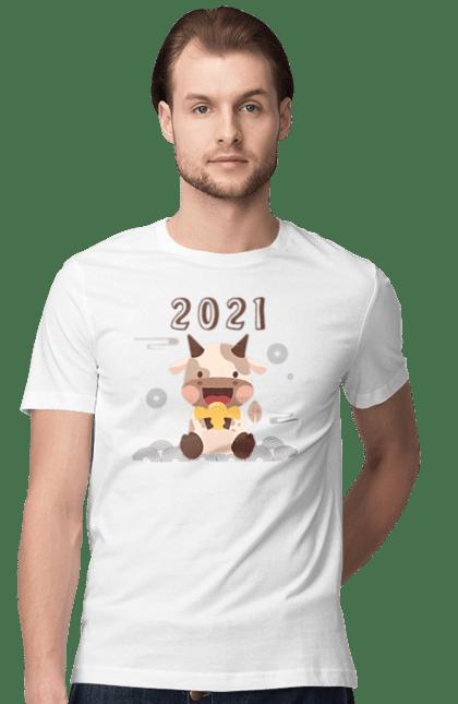 Футболка чоловіча з принтом З новим 2021 роком!. 2 021, бик, новий рік, свято. CustomPrint.market