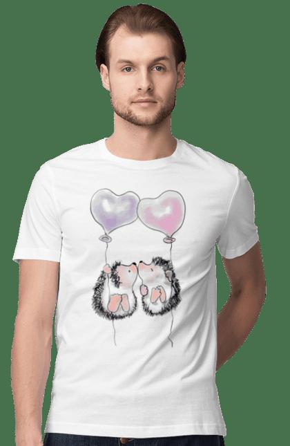 Футболка чоловіча з принтом Закохані їжачки на повітряних кульках. Закохані їжачки, їжачки, їжачок, повітряну кульку. Sector