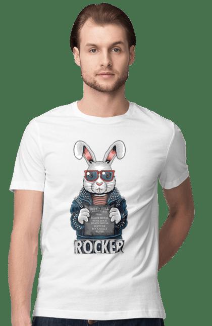 Футболка чоловіча з принтом Заєць Рокер. Джинсовка, заец, окуляри, рокер. CustomPrint.market