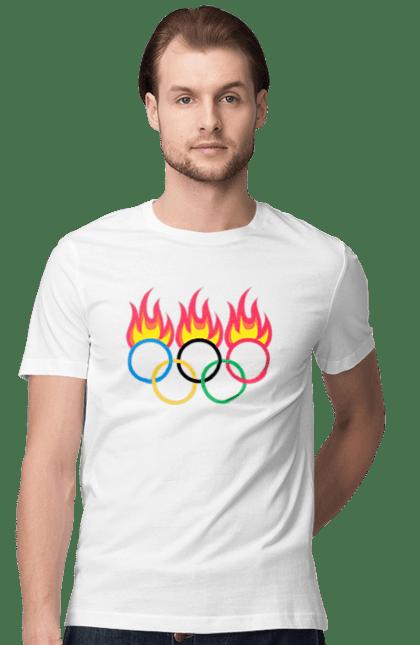 Футболка чоловіча з принтом Олімпійські Ігри Вогонь. Вогонь, олімпійські ігри. BlackLine
