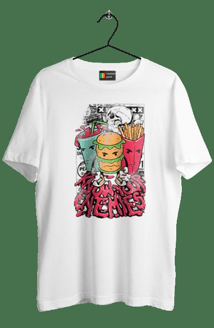 Футболка чоловіча з принтом Їжа, Знай Своїх Ворогів. Гамбургер, їжа, картопля фрі. BlackLine