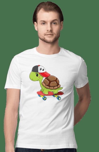 Футболка чоловіча з принтом Черепаха На Скейті. Кепка, скейт, черепаха. BlackLine