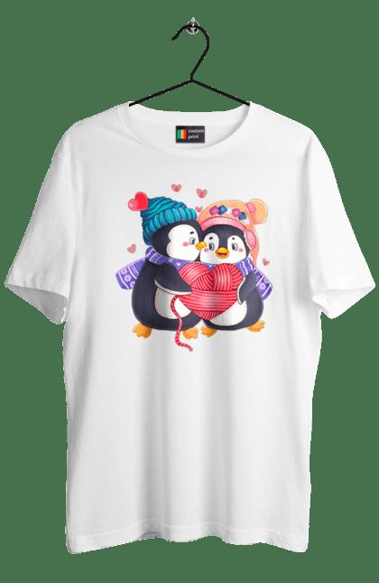 Футболка чоловіча з принтом Закохані пінгвіни в шапках. Закохані, кохання, пінгвіни, шапка, шарф. Sector
