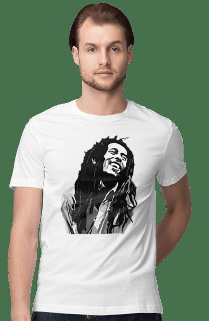 Футболка чоловіча з принтом Боб Марлі Чорно Білий. Боб марлі, портрет. CustomPrint.market