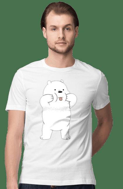 Футболка чоловіча з принтом Ведмідь Показує Язика. Ведмідь, мова. BlackLine