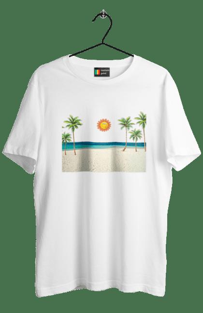 Футболка чоловіча з принтом Гавайський Пляж. Гаваї, літо, море, пальми, пляж, сонце. CustomPrint.market