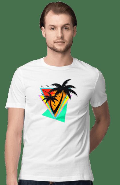 Футболка чоловіча з принтом Пальми Трикутники. Геометрія, захід, літо, пальми, трикутник. CustomPrint.market