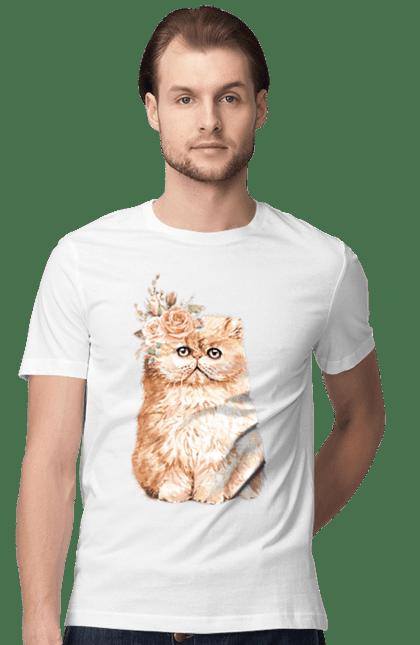 Футболка чоловіча з принтом Біло-руде котеня у вінку. Вінок, кіт, котеня, котик.