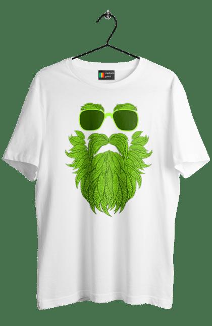 Футболка чоловіча з принтом Конопляний Мужик. Борода, конопля, наркотики, окуляри. CustomPrint.market