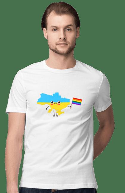Футболка чоловіча з принтом Лгбт Україна. Веселка, лгбт, україна.