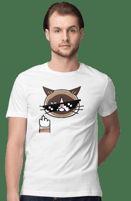 Футболка чоловіча з принтом Незадоволений Кот Фак. Кіт, окуляри, фак. BlackLine