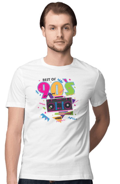 Футболка чоловіча з принтом Кращі 90Ті. 90 е, магнітола, найкращий час, ретро. CustomPrint.market