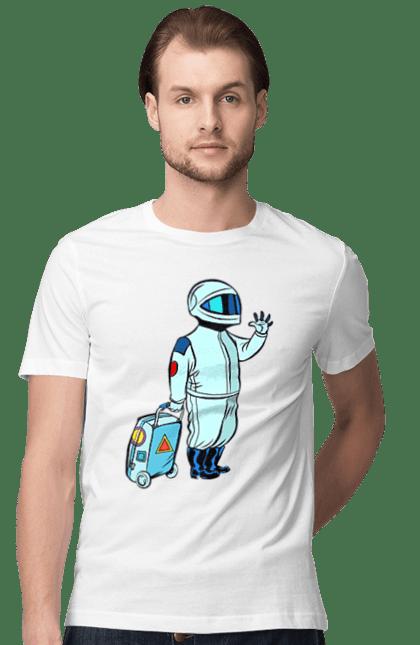 Футболка чоловіча з принтом Космонавт З Валізою. Космонавт, космос, чемодан. CustomPrint.market