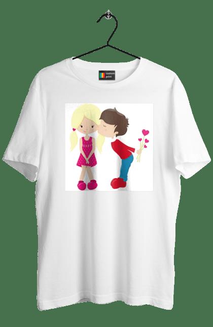 Футболка чоловіча з принтом Хлопчик цілує дівчинку. 14 лютого, день валентина, день закоханих, поцілунок, серденька. BlackLine