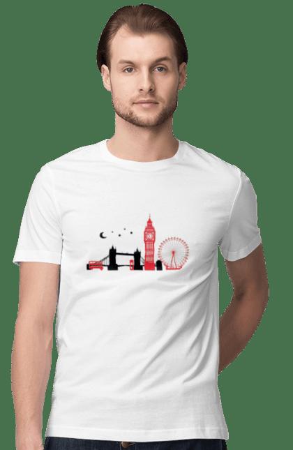 Футболка чоловіча з принтом Чорно Червоний Лондон. Колесо, лондон, міст, місто. BlackLine