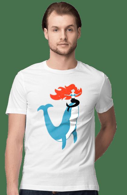 Футболка чоловіча з принтом Русалка І Кит. Кит, море, русалка. BlackLine