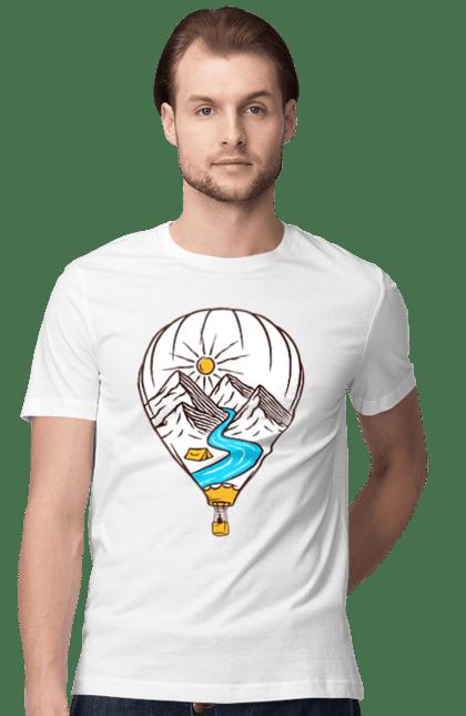 Футболка чоловіча з принтом Повітряна Куля І Гори. Гори, палатка, повітряна куля, річка.
