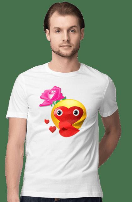 Футболка чоловіча з принтом Поцілунок Любові. Губи, любовь, поцілунок, троянда. BlackLine