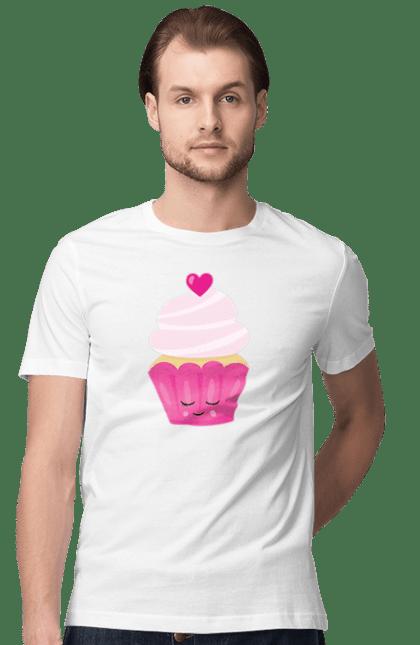 Футболка чоловіча з принтом Рожевий кейк з серцем. 14 лютого, день валентина, день закоханих, кейк, рожевий, сердечко. BlackLine