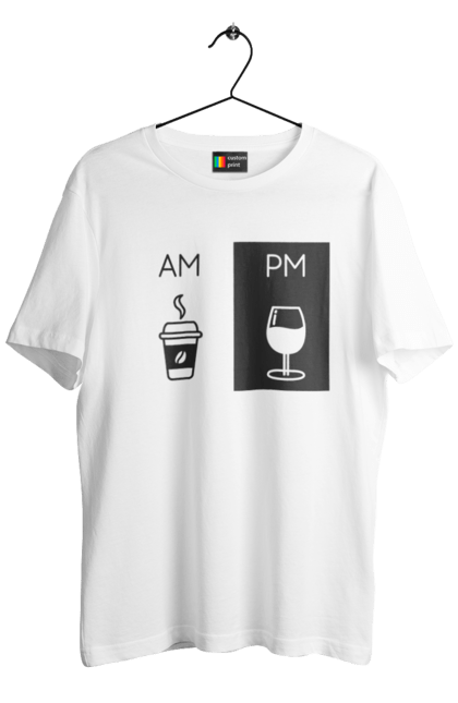 Футболка чоловіча з принтом АМПМ. Вечір, вино, кава, ранок. CustomPrint.market