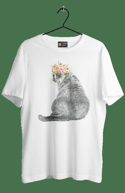Футболка чоловіча з принтом Котик з вінком. Вінок, квіти, кіт, котик.