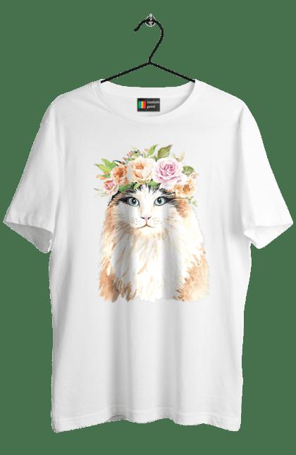 Футболка чоловіча з принтом Біло-рудий кіт у вінку. Вінок, кіт, котик, троянди.