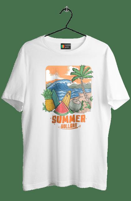 Футболка чоловіча з принтом Літні Свята. Ананас, літо, море, пальма, хвилі.