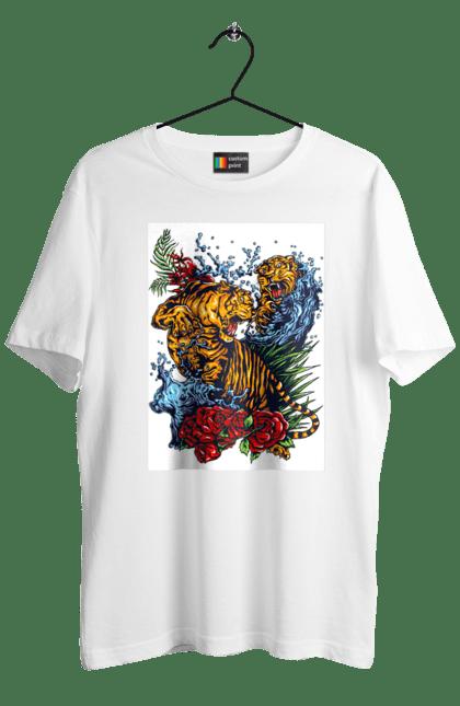Футболка чоловіча з принтом Битва тигрів. Битва, тигри, троянди.
