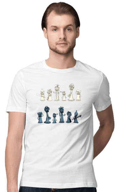 Футболка чоловіча з принтом Мультяшні Шахи. Настільна гра, шахи. CustomPrint.market