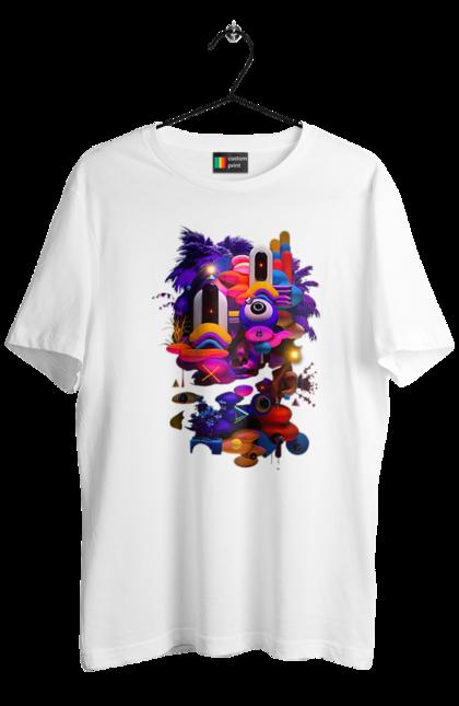 Футболка чоловіча з принтом Neo Abstraction 1. Абстракція, барвистий, мистецтво, різнокольоровий, сюрреалізм. CustomPrint.market