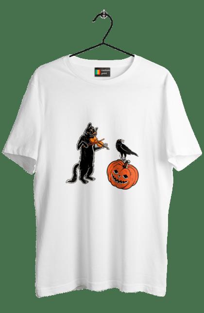 Футболка чоловіча з принтом Чорний кіт грає на скрипці. Гарбуз, кіт, кішка, кот, ліхтар джека, скрипка, тыква, фонарь джека, хеллоуин. CustomPrint.market