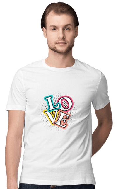 Футболка чоловіча з принтом Любовь Буквы. Буквы, любовь, подарок, слово, слово любовь. CustomPrint.market