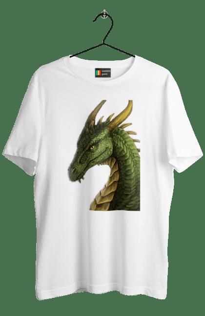 Футболка чоловіча з принтом Дракон. Вогонь, дракон, зелений, магия, яйцо. CustomPrint.market