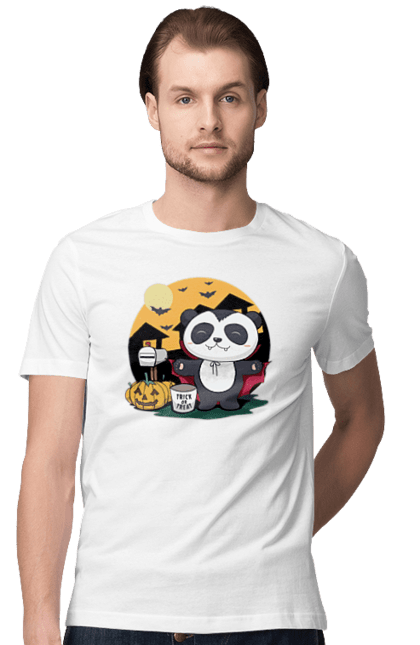 Футболка чоловіча з принтом Хеллоуїн, панда дракула. Гарбуз, дракула, летюча миша, панда, хеллоуїн. BlackLine