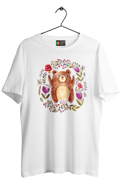Футболка чоловіча з принтом Ведмідь, квіти і мухомори. Ведмідь, калина, квітка, мухомор, осінь. Sector