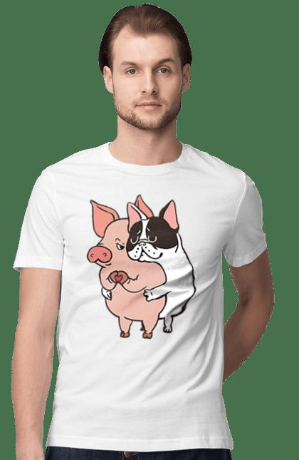 Футболка чоловіча з принтом Собака любить свинку. Кохання, свинка, серце, собака. Sector