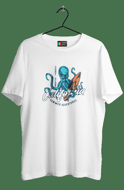 Футболка чоловіча з принтом Surfing Octopus. Вінтаж, восьминіг, ретро, серфінг. BlackLine