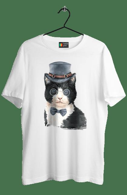 Футболка чоловіча з принтом Чорно-білий кіт в капелюсі. Бант, капелюх, кіт, котик, окуляри.