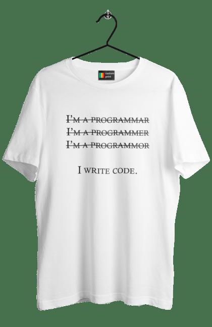Футболка чоловіча з принтом Я Пишу Код, Програміст, Чорний. День програміста, клд, пишу код, програма, програміст. BlackLine