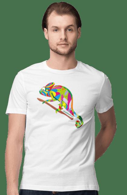 Футболка чоловіча з принтом Хамелион (Sorokina). Дитячий, смішний, хамелеон, яскравий. CustomPrint.market