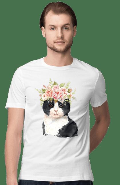Футболка чоловіча з принтом Чорно-білий Кіт у вінку. Вінок, кіт, котик, троянди.