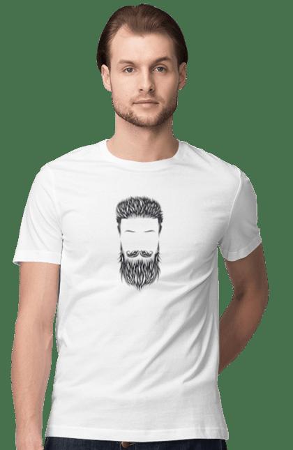 Футболка чоловіча з принтом бородатий Барбер. Барбер, борода, вінтаж, ретро. BlackLine